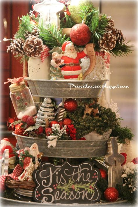 Kitchen Table Centerpiece Ideas For Everyday by Priscillas Christmas Galvanized Tiered Tray 2015