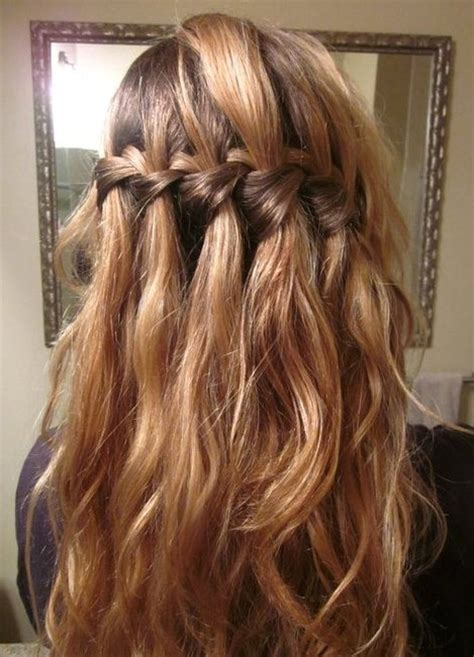hairstyles for curly hair plait elegant waterfall braid hairstyles for curly hair