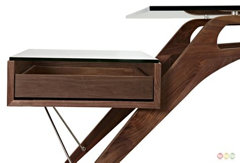 Wood And Glass Desk by Koen Mid Century Modern Walnut Wood Writing Desk With Glass Top