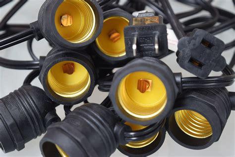Outdoor String Light Sockets Cord Only 24 Socket Outdoor String Light 54ft Black Cord W E26 Medium Base