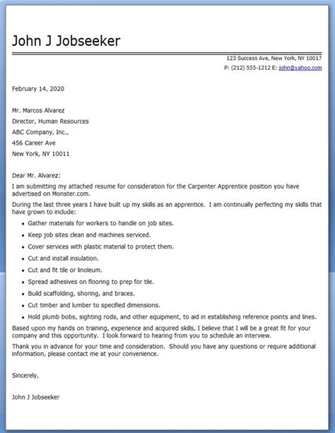 Aerospace Service Apprentice Cover Letter by Cover Letter Carpenter Apprentice Resume Downloads