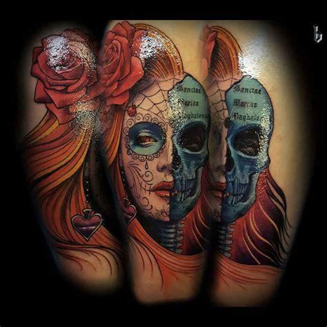 tattoo santa muerte half skull santa muerte chicano