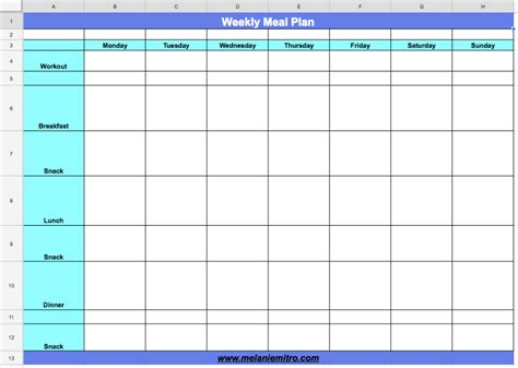 28 weekly meal planner template with snacks weekly meal