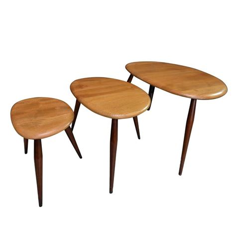 Pebble Coffee Table Ercol Originals Nest Of Pebble Tables Coffee Table By Lucian R Ercolani At 1stdibs