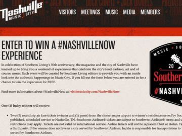 Southern Living Sweepstakes - southern living s nashvillenow sweepstakes