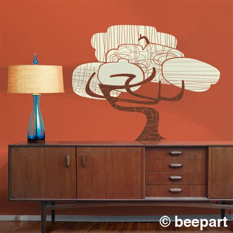 modern vinyl wall decals tree vinyl wall decal mid century modern sticker mod