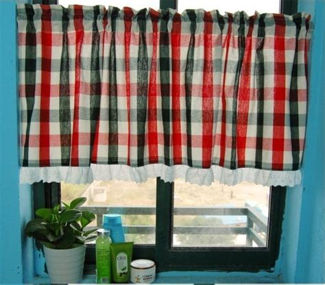 red grid kitchen window curtain bathroom curtain modern