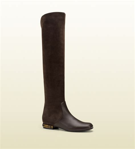 gucci leather and suede knee boot in brown lyst