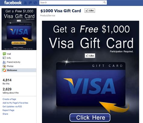 Visa Gift Card Through Email - 1000 visa gift card welcome facebook scam dataprotectioncenter com tech