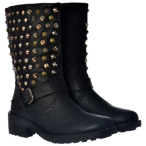 onlineshoe biker ankle boots gold silver chrome studs