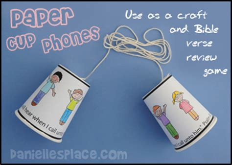 Paper Cup Telephone Craft - prayer bible crafts and activities