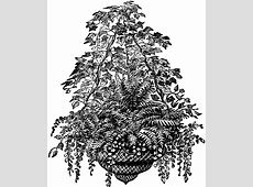 Basket of Ferns | ClipArt ETC House With Garden Clipart