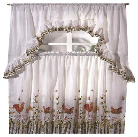 rooster printed kitchen curtain swag set traditional