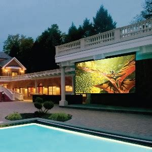 outdoor theater uses titan projector for pool