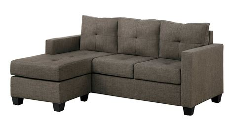 Microfiber Sectional Sofa With Chaise Microfiber Sectional Sofa With Reversible Chaise Ottoman With Tufted Accent Grayish Brown