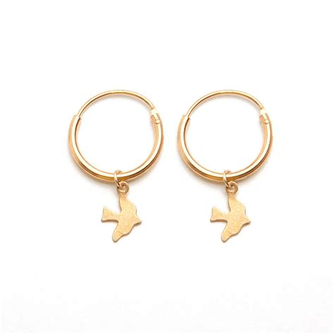 dickie bird charm hoop earrings by jewellery