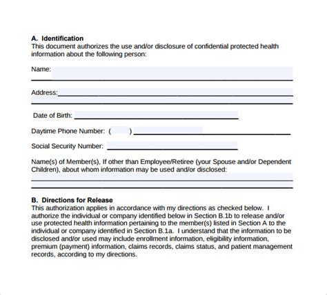 sle of hipaa authorization form hipaa authorization form 8 documents in pdf word