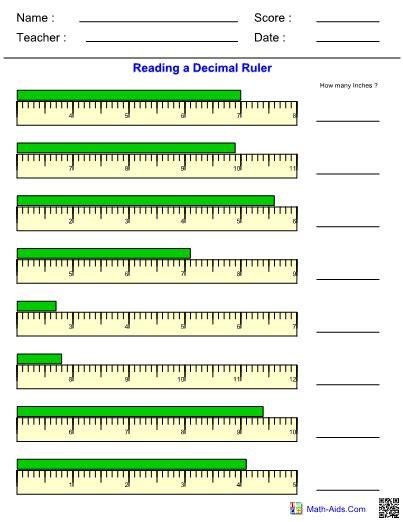 Measuring Worksheet Answers