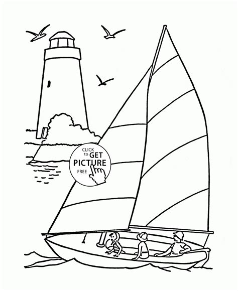 boat and lighthouse drawing sailboat and lighthouse coloring page for kids