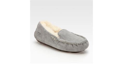 ugg moccasin slippers sale ugg ansley suede moccasin slippers in gray lyst