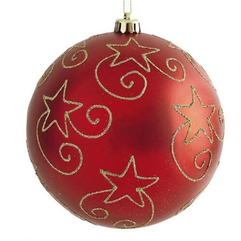 large red star shatterproof ornament christmas tree