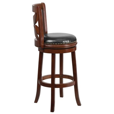 Swivel Bar Stools Leather Seat by 29 Cherry Wood Bar Stool With Black Leather Swivel Seat