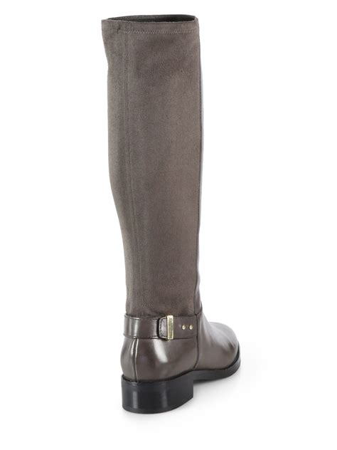 cole haan adler leather suede knee high boots in gray lyst