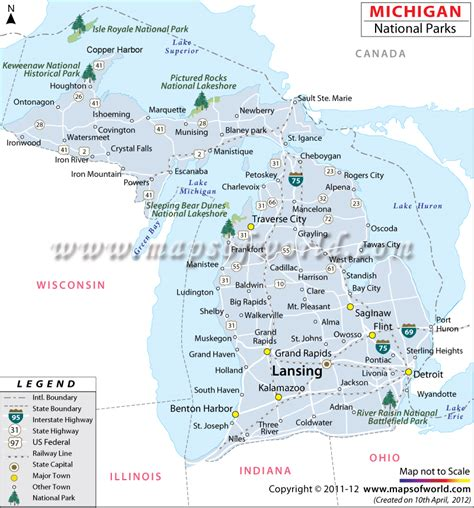 map of usa showing national parks michigan national parks map