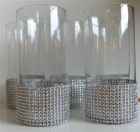 centerpiece cylinder vase lot silver bling rhinestone