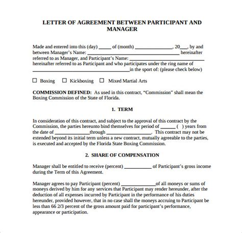 agreement letter for business pdf 16 sle free letter of agreement templates sle