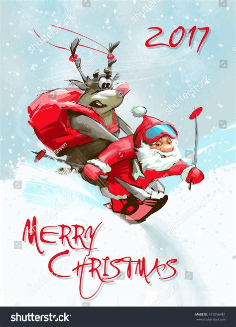 greeting merry christmas card funny santa stock illustration  shutterstock