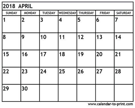 April 2018 Calendar Canada April 2018 Calendar Yearly Printable Calendar