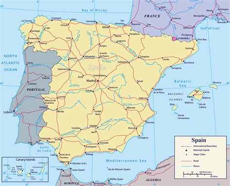 map of spain with cities detailed political map of spain with major roads and major