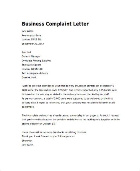 business letter exle for a complaint sle business letter 8 exles in pdf word