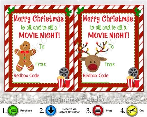 Printable Redbox Gift Cards - redbox codes gift tags 4 different designs cards digital