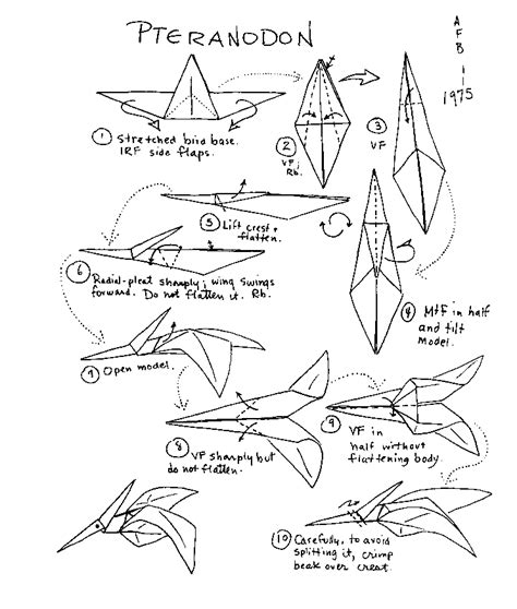 How To Make A Paper Flying Dinosaur - origami dinosaurs a list of origami dinosaur