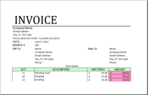 parts and labor invoice template free invoice template in xls hardhost info