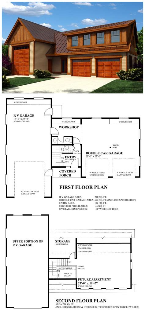 rv garage plans with apartment 27 best 3 car garage plans images on pinterest 3 car