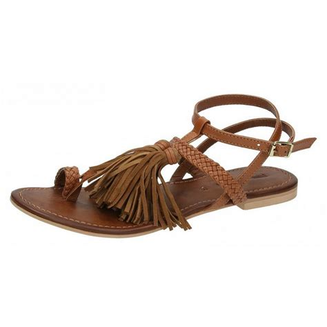 sandals with tassels leather collection womens flat toe loop sandals