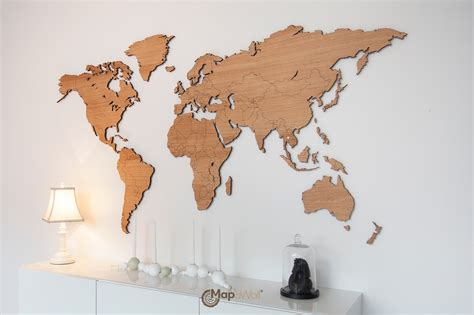 Map Of The World Wooden by Wooden World Map Made From Oak Woodenworldmap