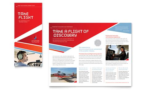 1 2 page flyer template aviation flight instructor brochure template word