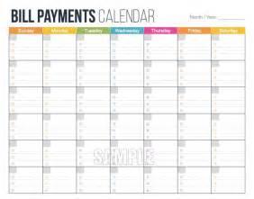 printable bill calendar template free calendar template