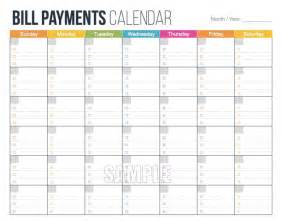 Printable Bill Calendar Template : Free Calendar Template