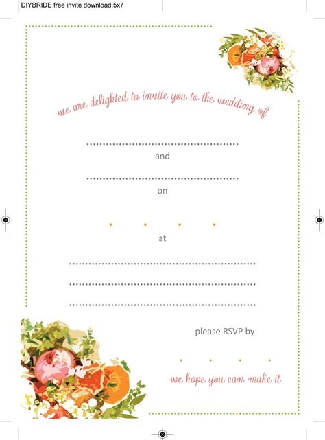 invatation card template free printable free printable wedding invitation templates