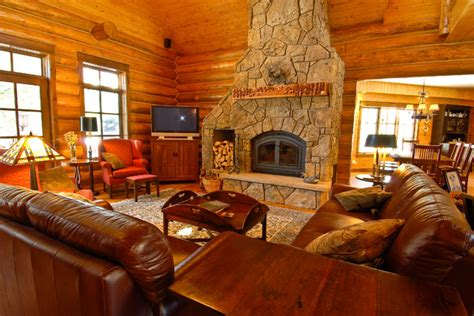 creek hybrid log home rustic living room
