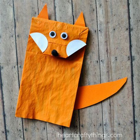 How To Make A Paper Fox Puppet - paper bag fox craft for i crafty things