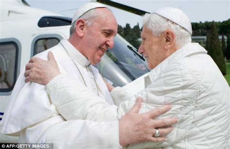 the popes a history pope francis makes history as he embraces retired predecessor benedict in first ever meeting of
