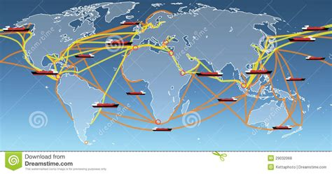 ship route map world shipping routes map stock photo image of company