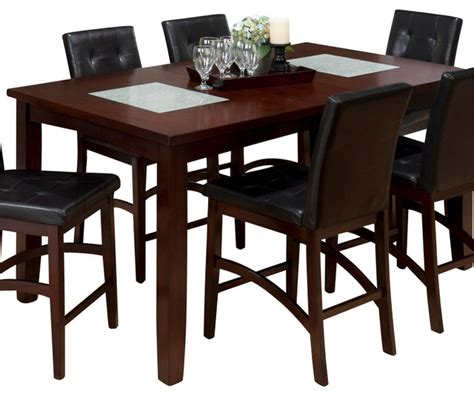 42 Height Dining Table Jofran 863 42 Counter Height Table With 2 Crackled Glass Inserts Traditional Dining Tables