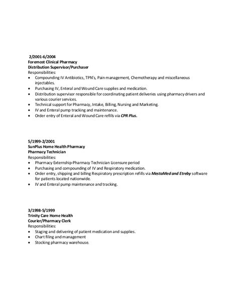 Iv Pharmacy Technician Resume by Resume Malik Ross Iv Pharmacy Technician Hospital Home
